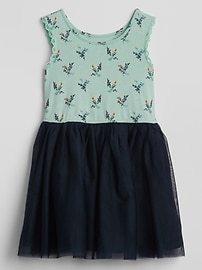 Floral Mix-Fabric Dress
