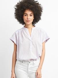 Chemise à enfiler à manches courtes en tissu armuré rayé