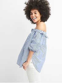 Chemise tunique à épaules dénudées avec boucle en popeline