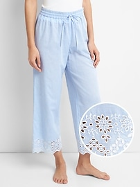 Eyelet Embroidery Pajama Pants in Poplin