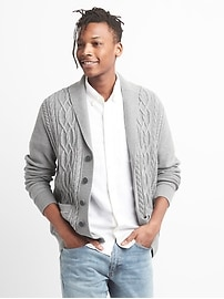 Cable-Knit Shawl Collar Cardigan Sweater in Combed Cotton