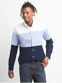 Oxford Colorblock Standard Fit Shirt with Stretch