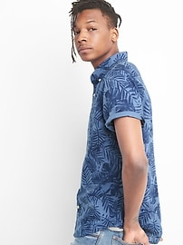 Standard Fit Short Sleeve Shirt in Linen-Cotton