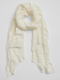 Oblong Eyelet Embroidered Scarf