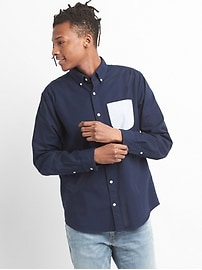 Standard Fit Shirt in Oxford with Contrast Pocket