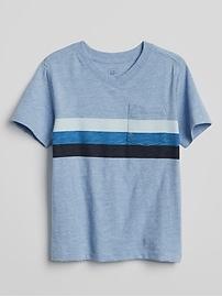 T-shirt à poche rayé avec col en V