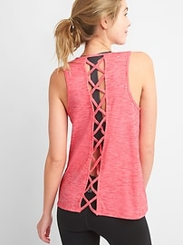 Breathe lattice-back tank