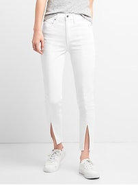 High Rise True Skinny Ankle Jeans with Slit Hem