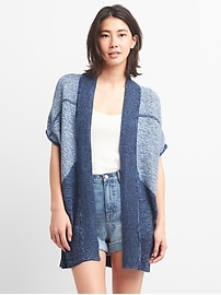 Patchwork Open-Front Poncho Cardigan Sweater