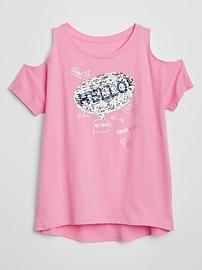 T-shirt imprimé à épaules dénudées