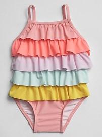 Rainbow Ruffle Swim One-Piece