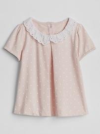 Dot Eyelet-Collar Dress