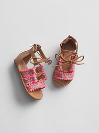 Geometric Pom Sandals