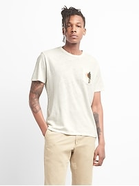 Graphic Short Sleeve Pocket T-Shirt in Linen-Cotton