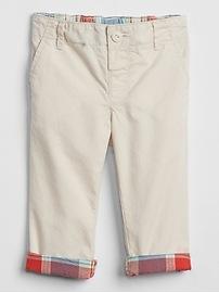 Plaid-Lined Khakis in Poplin