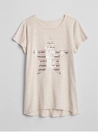 T-shirt asymétrique à imprimé à paillettes