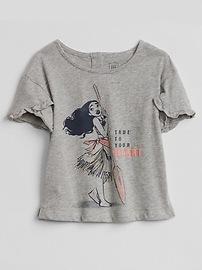 Ruffle-Sleeve Graphic T-Shirt