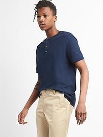 Short Sleeve Henley in Linen