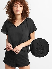 Dreamwell Embroidered Short Sleeve Top