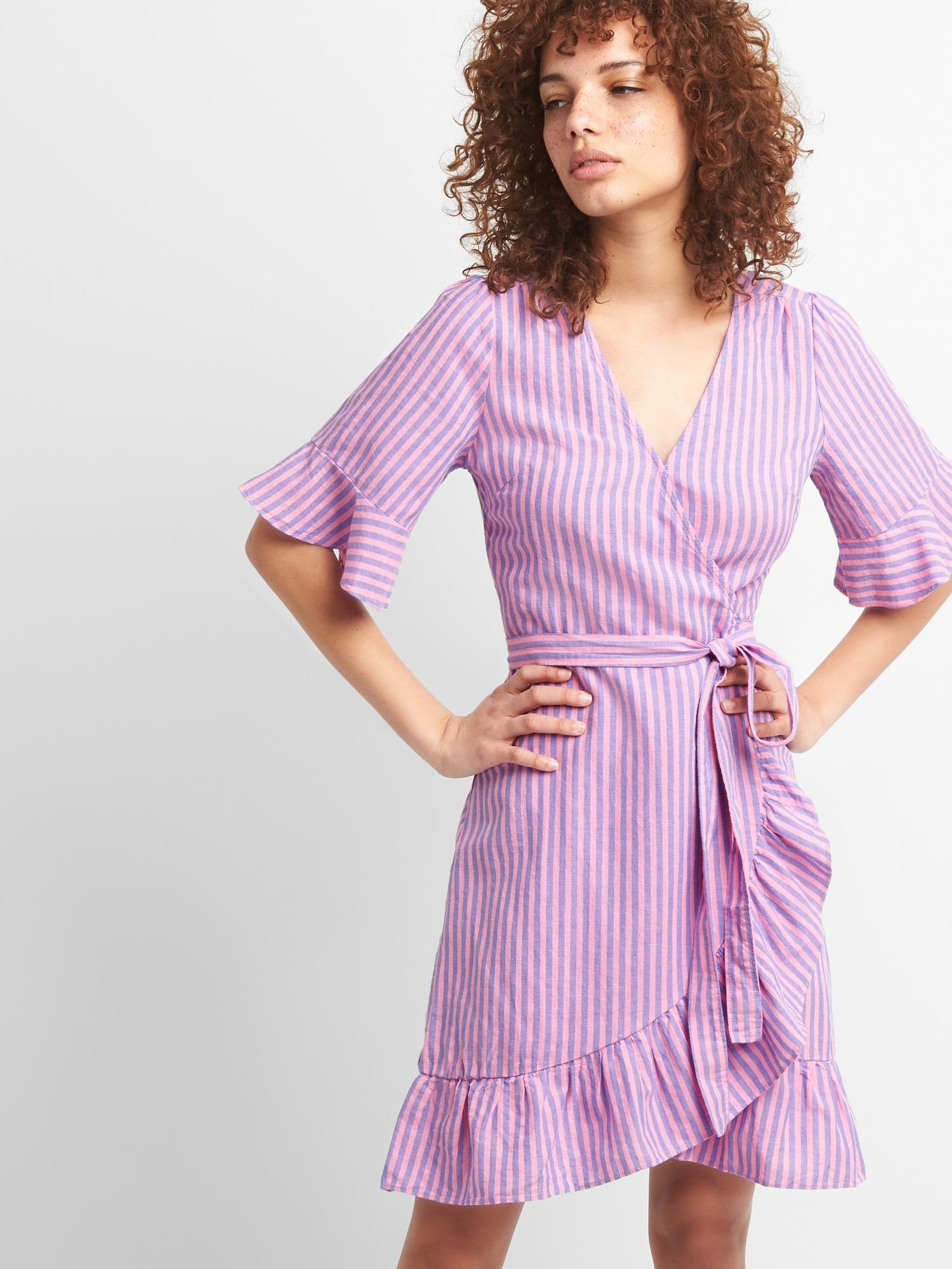 Ruffle Wrap Dress in Linen Cotton