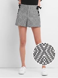 "High Rise 4"" Woven Shorts with Lace-Up Detail"