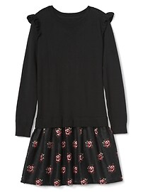 Floral mix-fabric ruffle dress