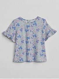 Dot Ruffle-Sleeve T-Shirt