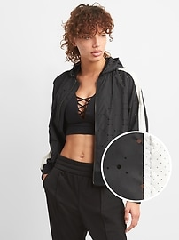 GapFit Lightweight Perforated Hooded Bomber Jacket