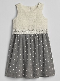 Crochet Mix-Fabric Dress
