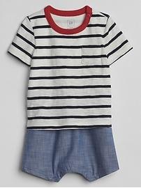 Stripe 2-in-1 Shorty One-Piece