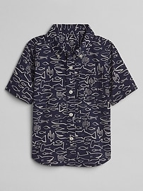 Graphic Convertible Button-Down Shirt