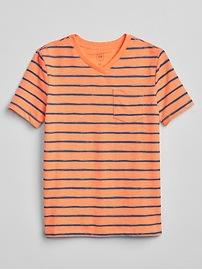 T-shirt à col en V rayé