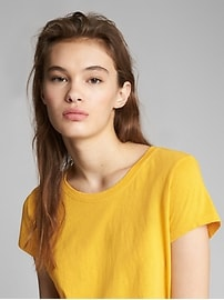 Cropped Short Sleeve Crewneck T-Shirt in Natural Cotton