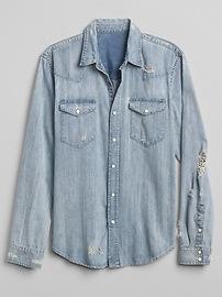 Slim Fit Western Denim Shirt in Distressed