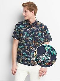 Print Poplin Short Sleeve Shirt in Stretch