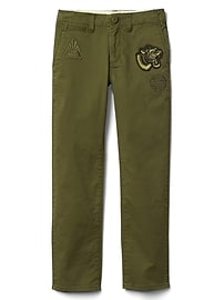 Graphic patch twill chino