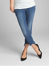 Maternity Full Panel True Skinny Ankle Jeans in Distressed with Bi-Stretch
