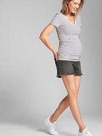 Maternity Inset Panel Denim Shorts with Raw Hem