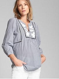 Maternity Embroidered Split-Neck Blouse