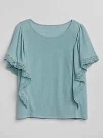 Crochet Detail Flutter Sleeve Top
