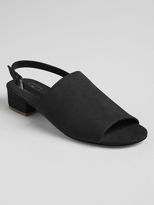 Open Toe Slingback Block Heel Mules by Gap