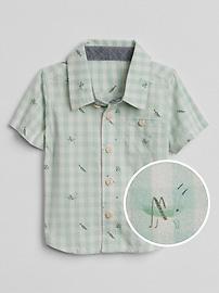 Chemise à imprimé à manches courtes en popeline