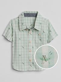 Short Sleeve Print Shirt in Poplin