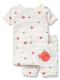 Pyjama court à motifs de poissons en coton biologique