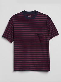 T-shirt à poche ras du cou lourd à rayures