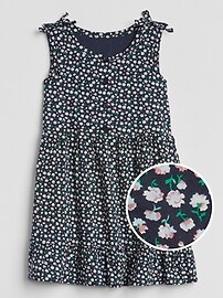 Floral Button-Front Tier Dress