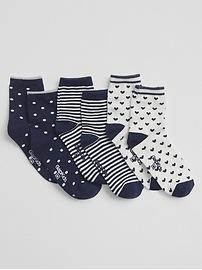 Print half crew socks (3-pack)