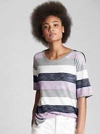 Softspun Stripe Scoop Neck T-Shirt