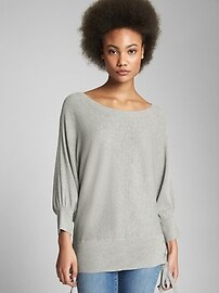 Puff-Sleeve Pullover Sweater with Lace-Up Detail