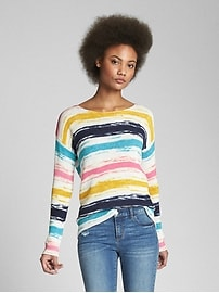 Print Boatneck Pullover Sweater